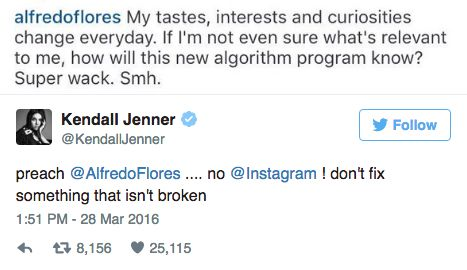 Kendall Jenner update about the Instagram algorithm change
