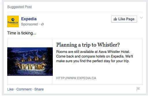 Expedia Remarketing Facebook post after someone searches for Whistler accommodation