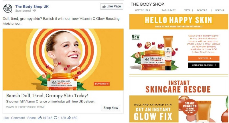 The Body Shop UK's EDM and Facebook remarketing example