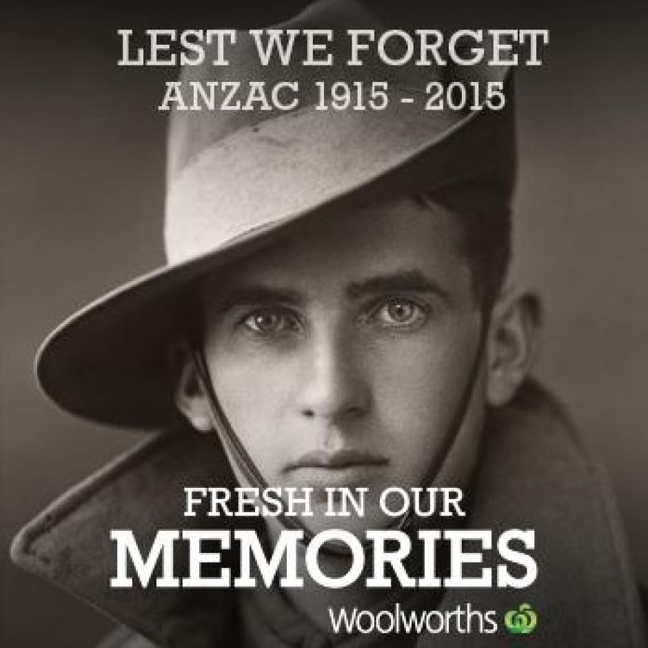 Woolworths ANZAC Fresh In Our Memories Tweet