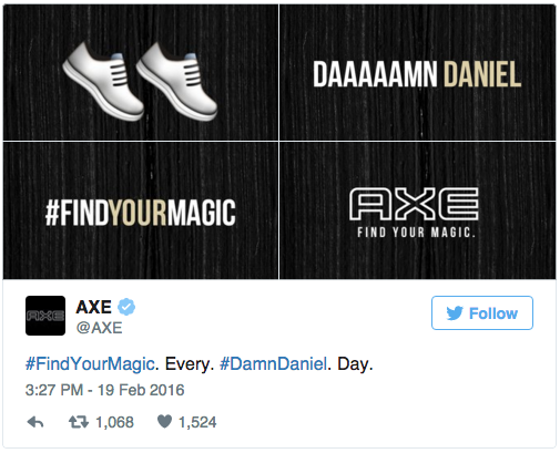 Axe's DAMN DANIEL advertising tie-in tweet