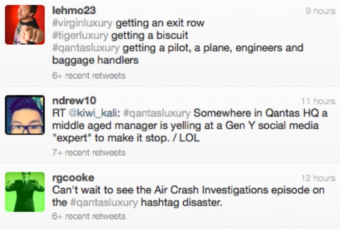 #qantasluxury hashtag campaign fail tweets