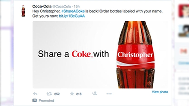 #shareacoke with a workmate hashtag example Coca-Cola