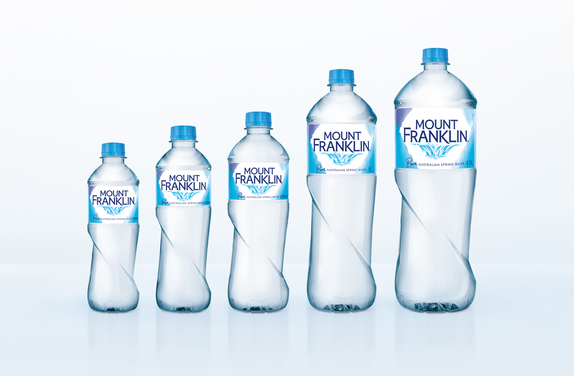 5 bottles of mount franklin water in different sizes