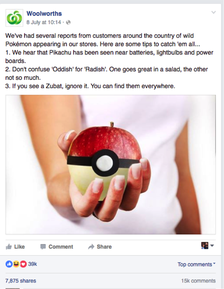 woolworths pokemon go facebook status update