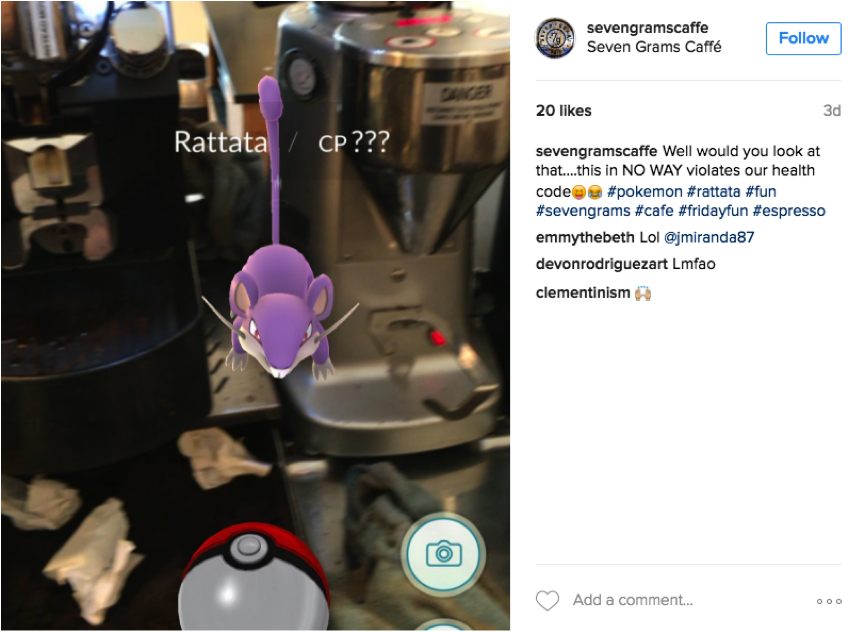 seven grams caffe pokemon go instagram update